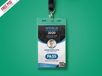 Free PSD : Conference VIP Entry Pass ID Card Template PSD