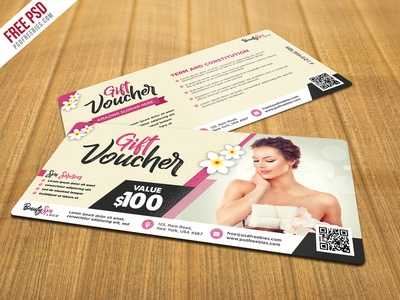 Freebie : Beauty and Spa Gift Voucher PSD Template