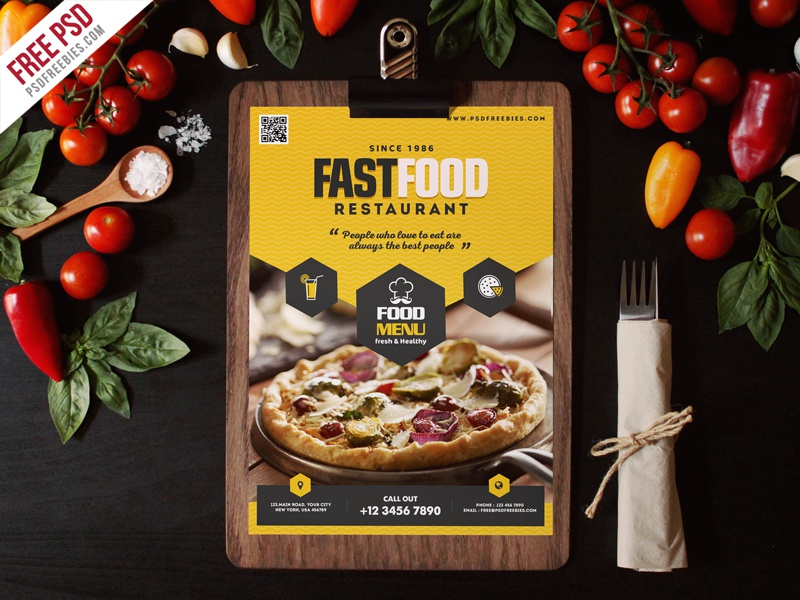 Free PSD : Fast Food Restaurant Menu Flyer PSD creative flyer psd ad flyer menu flyer food menu resuaurant menu menu design design template freebie psd free psd