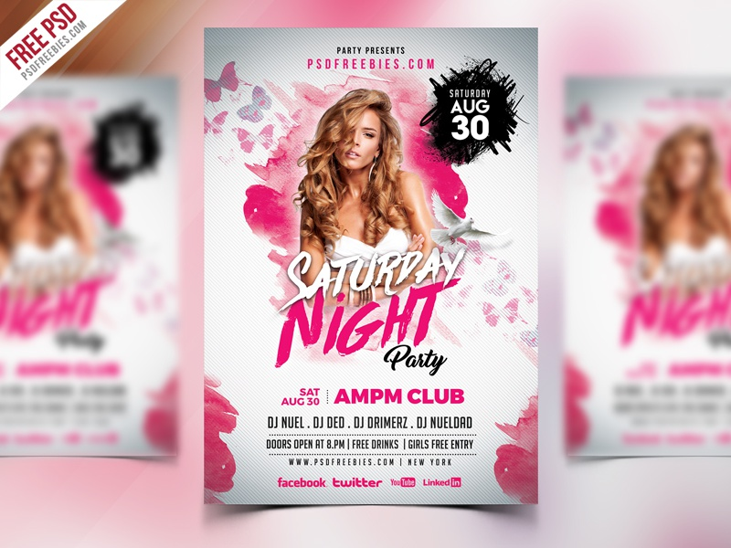 free psd saturday night party flyer psd template by psd freebies