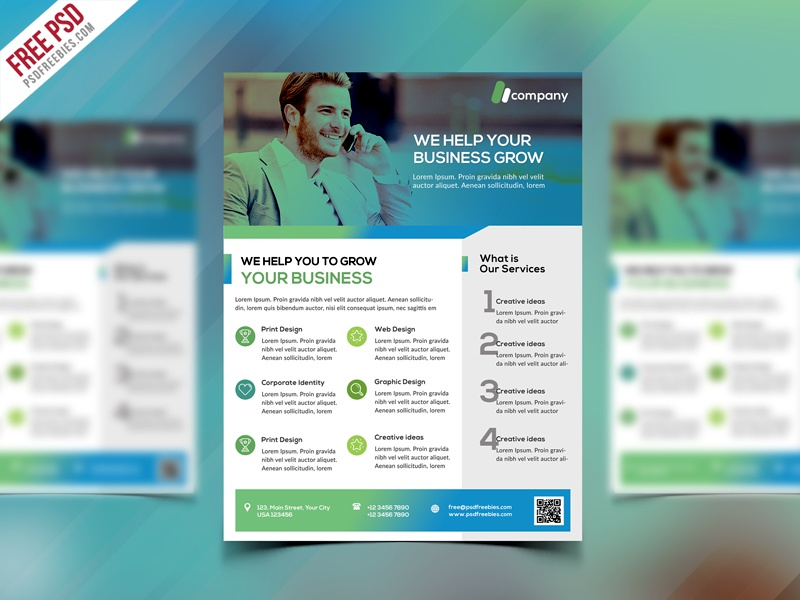Clean Business Flyer Template Free PSD by PSD Freebies - Dribbble
