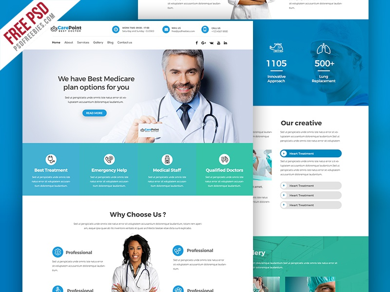 Free Psd Medical Hospital Website Psd Template By Psd Freebies