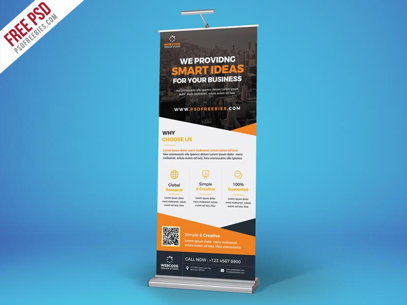Freebie : Advertisement Roll-Up Banner Free PSD