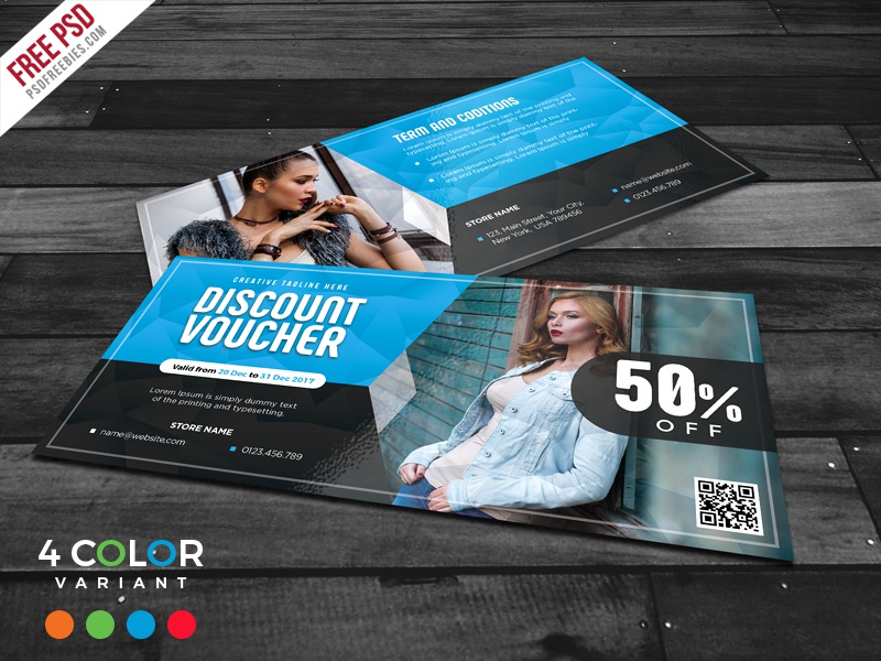 Freebie : Discount Voucher Design Free PSD Bundle