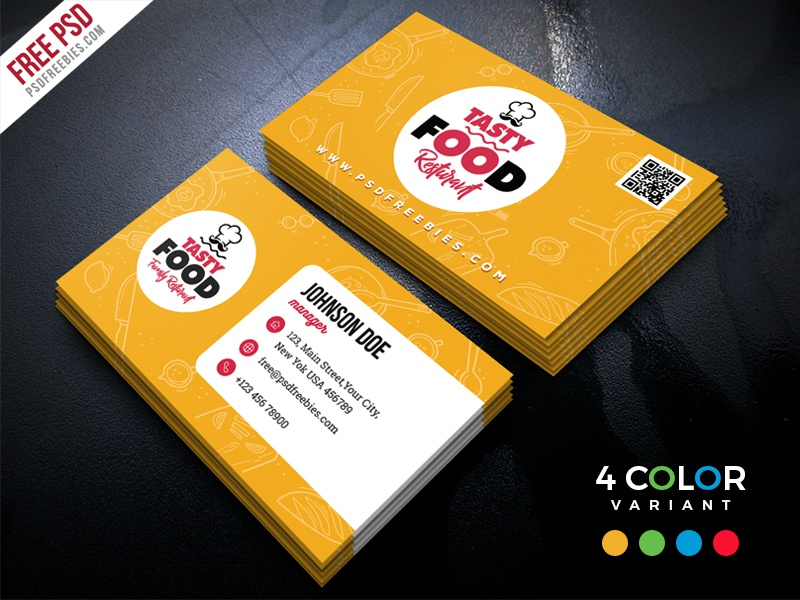 restaurant business card free psd bundle by psd freebies