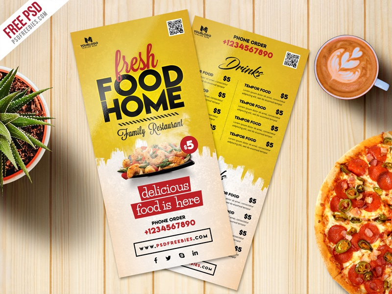 Free PSD : Food Menu Card PSD Template Freebie
