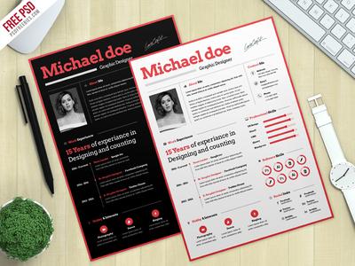 Freebie : Simple CV Resume Template Free PSD