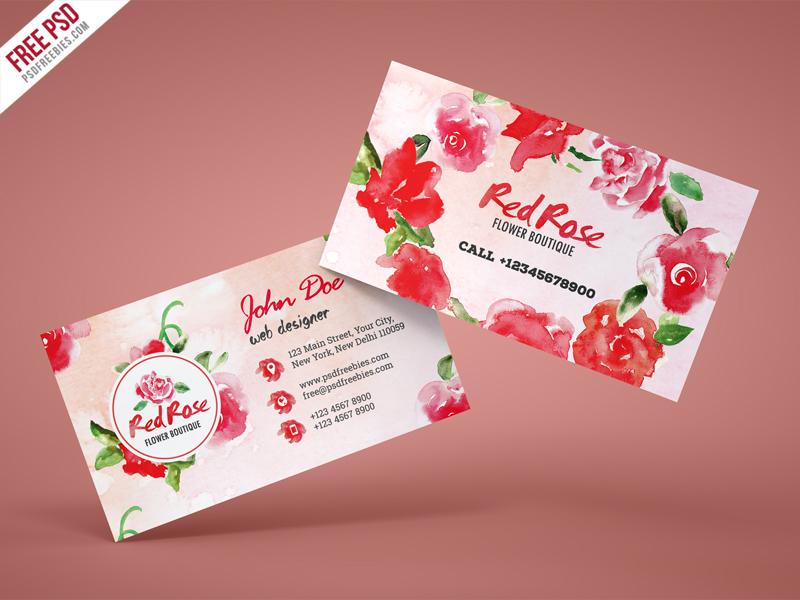 Flower Business Card Free Psd Template Creative Design Rose Visiting
