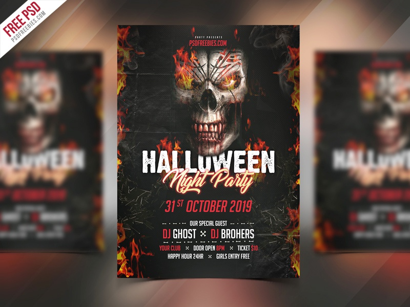 Freebie : Halloween Party Invitation Flyer PSD Template by PSD ...