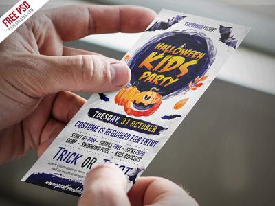 Free Halloween Kids Party Invitation Card PSD