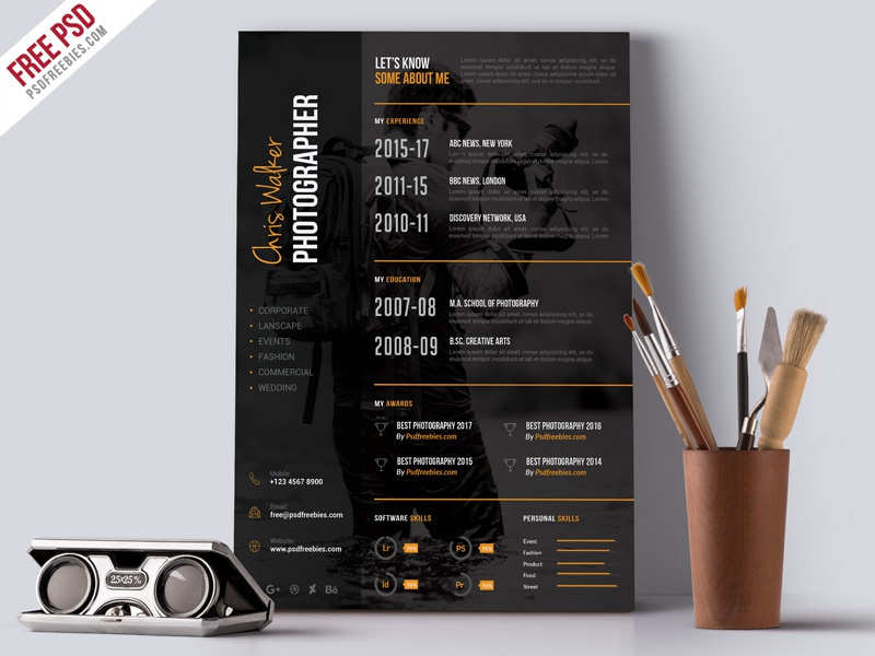 Photographer Resume CV PSD Template by