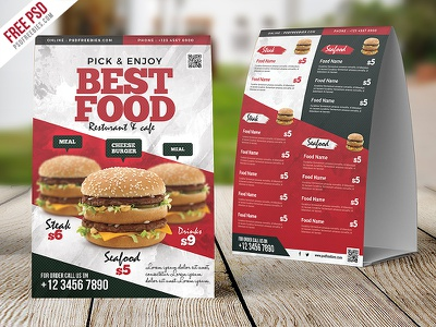 Restaurant Food Menu Table Tent Card PSD price menu menu template fast food cafe menu restaurant menu psd template table tent tent card food menu freebie psd free psd