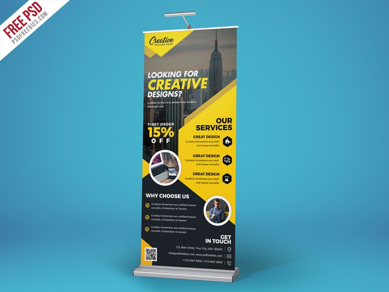 Corporate Roll Up Banner Free PSD
