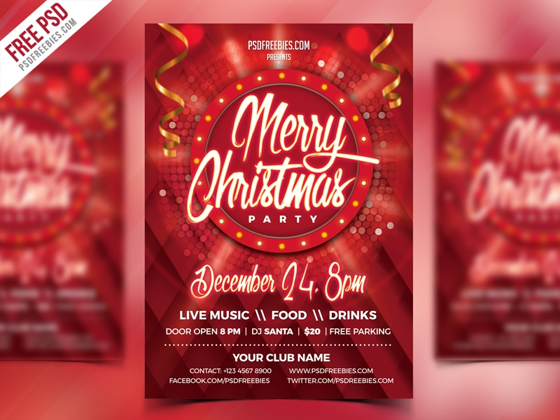 Christmas Party Flyer PSD Template music event christmas event event flyer christmas poster ad creative freebie psd free psd 25 dec party flyer christmas party