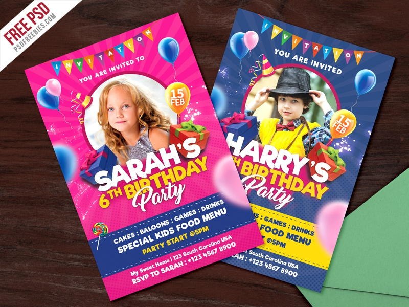Kids Birthday Party Invitation Card PSD Creative Free Flyer Freebie