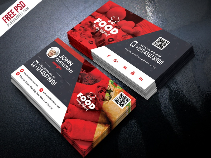 Free Restaurant Business Card PSD by PSD Freebies - Dribbble