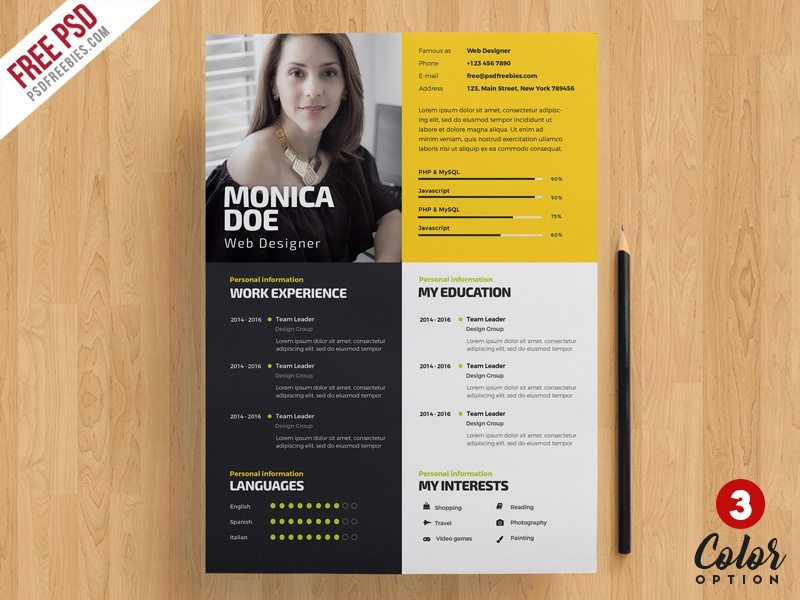 creative resume template psd bundle by psd freebies