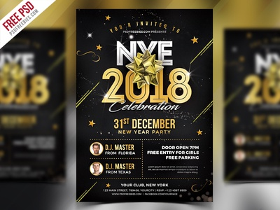 New Year 2018 Party Flyer PSD