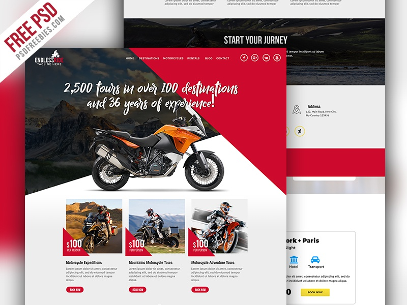 Motorcycle Expedition Company Website Psd By Psd Freebies On