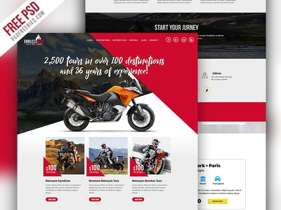 Motorcycle Expedition Company Website PSD free psd psd freebie adventure motorcycle club motorcycle website template booking website trip booking tour and travel web template