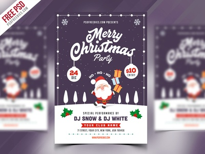 Christmas Party Flyer Template Psd By Psd Freebies  Dribbble