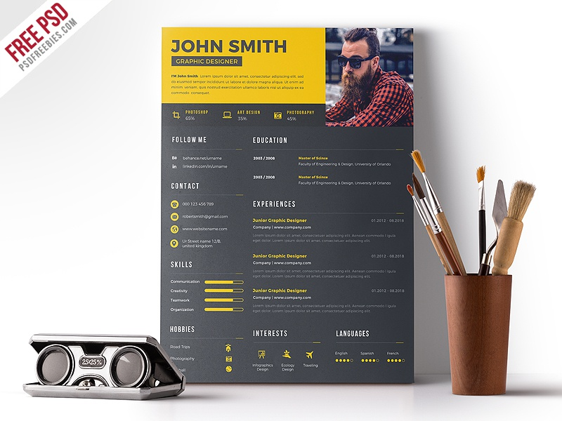 Clean Resume Design Free PSD creative cv job cv resume template curriculum vitae designer creative resume cv photoshop psd freebies free psd