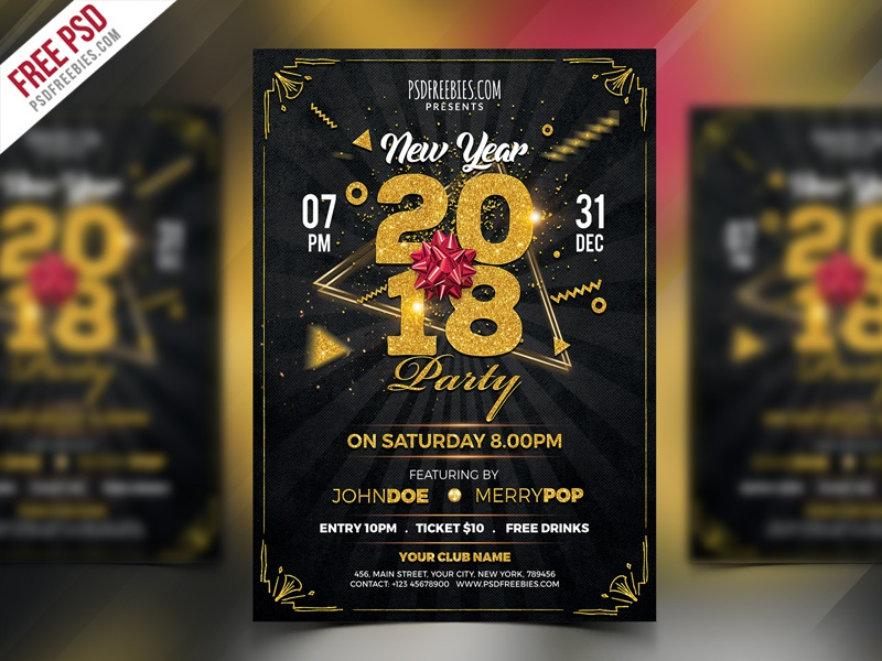 new year 2018 party flyer psd template photoshop freebie psd free psd new year event party