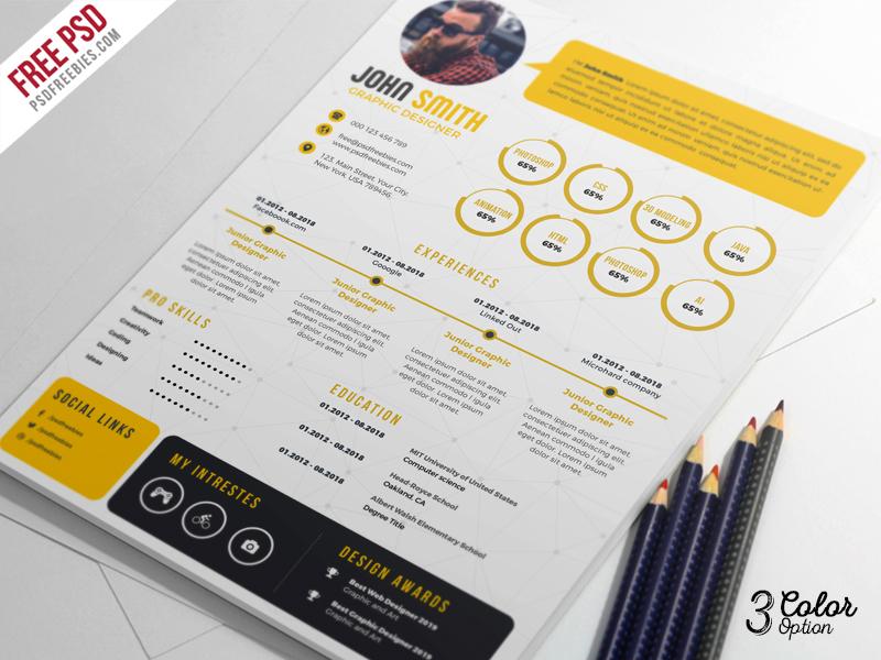 Creative Resume Cv Psd Bundle By Psd Freebies Dribbble Dribbble