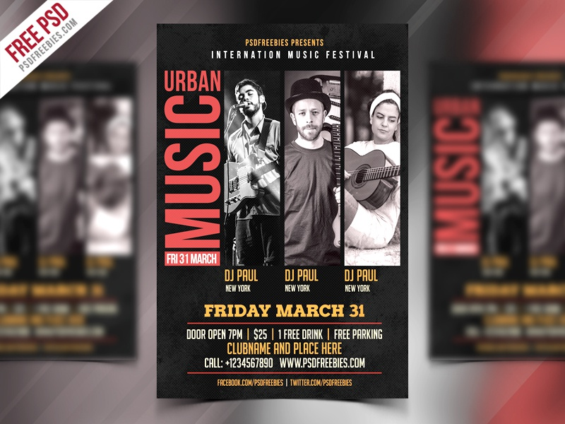 music event flyer free psd template by psd freebies on