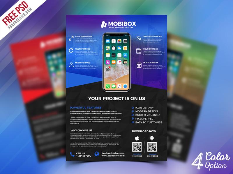 mobile app promotion flyer psd bundle by psd freebies dribbble
