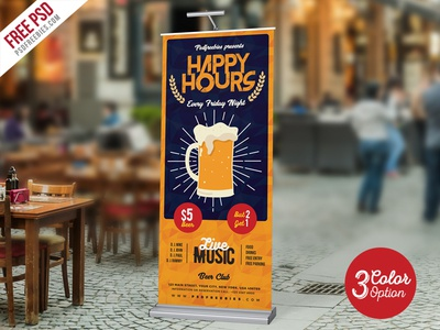 Happy Hour Promotion Roll Up Banner Psd Bundle