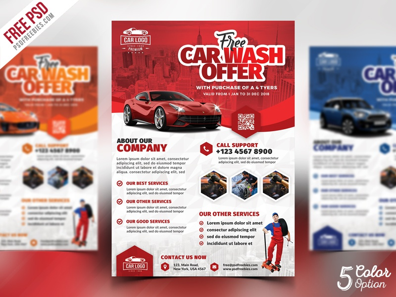 car wash services promotional flyer psd bundle by psd freebies
