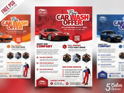 car wash services promotional flyer psd bundle by psd freebies dribbble. Black Bedroom Furniture Sets. Home Design Ideas