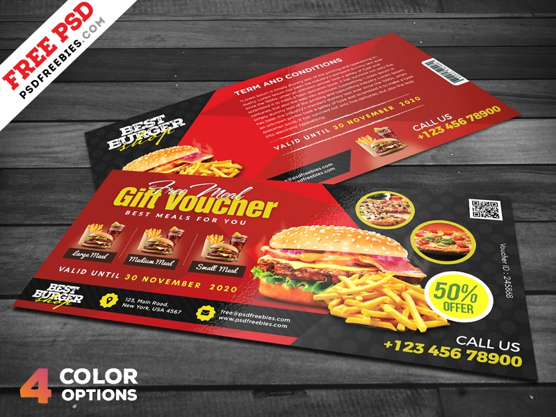 restaurant free meal voucher psd set by psd freebies