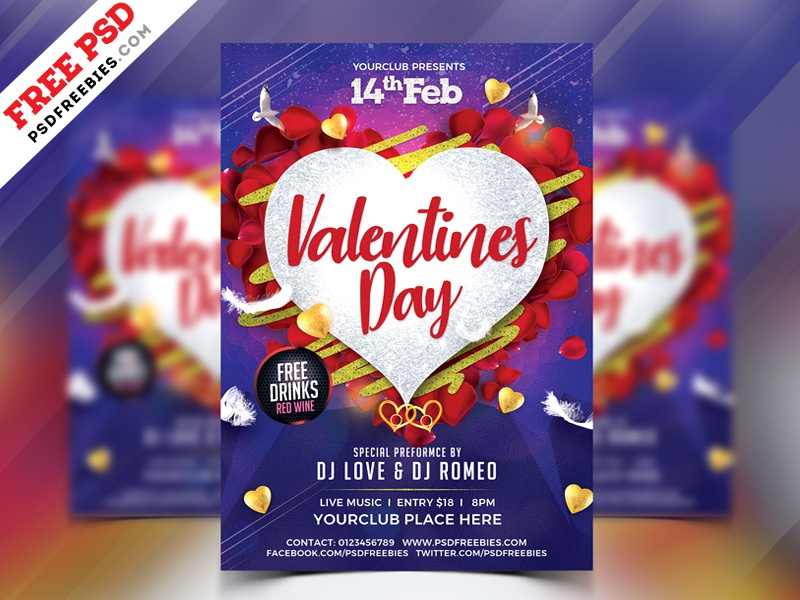 Valentines Day Flyer Free PSD Template red flyer love day 14feb love psd flyer flyer event psdfreebies freebie free psd valentines day valentines