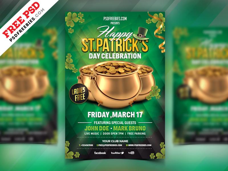 St. Patrick's Day Celebration Flyer Free PSD green flyer patricks day party print template party flyer photoshop download lrish festivel st patrick psd flyer freebie psd free psd