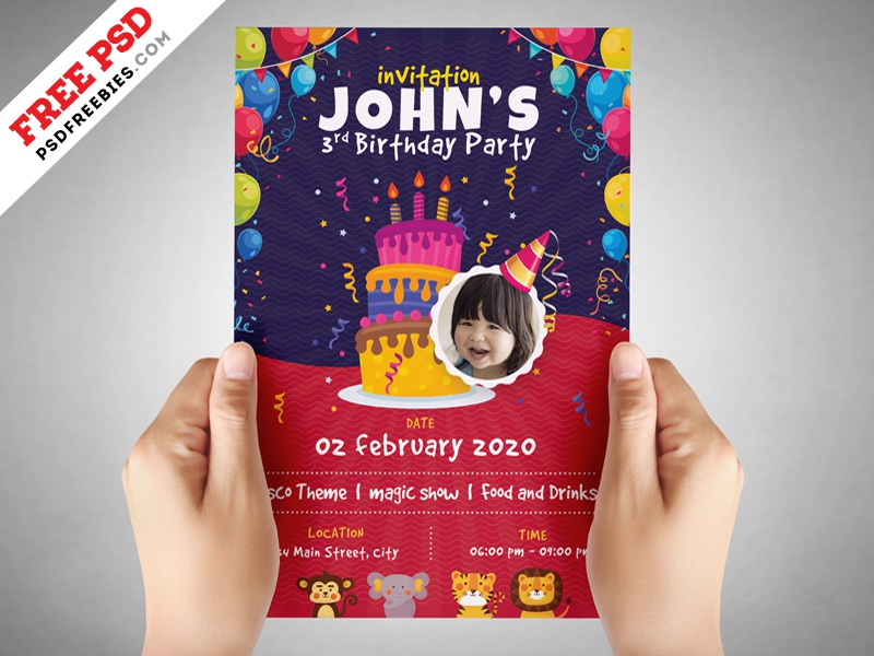 Kids Birthday Party Invitation Flyer PSD