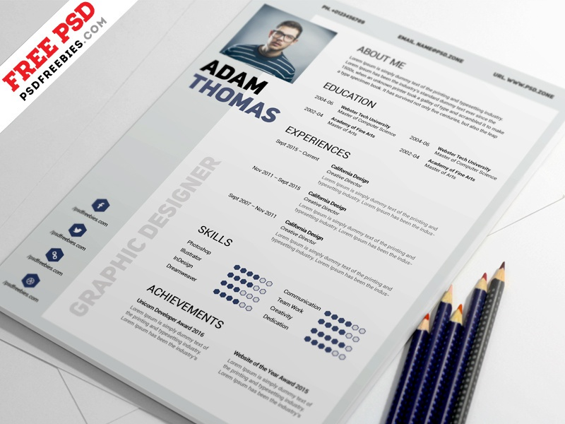 clean resume design template free psd by psd freebies dribbble