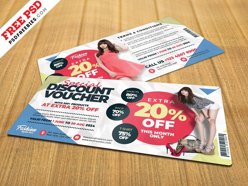Discount Voucher Design Template Psd By Psd Freebies Dribbble