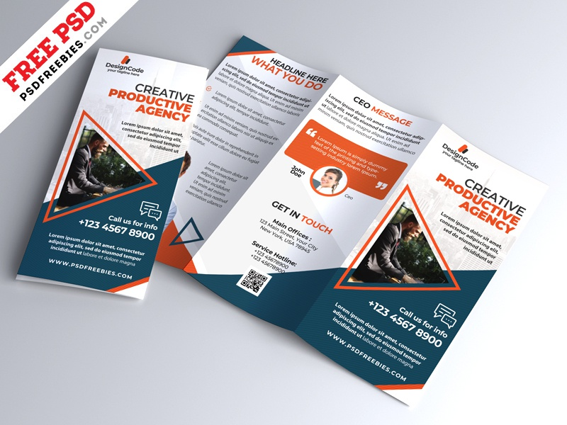multipurpose tri fold brochure design psd