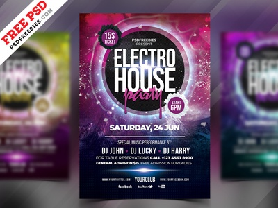 Electro Party Flyer Free PSD saturday party template creative flyer party night party event event flyer psd flyer party flyer freebie psd free psd