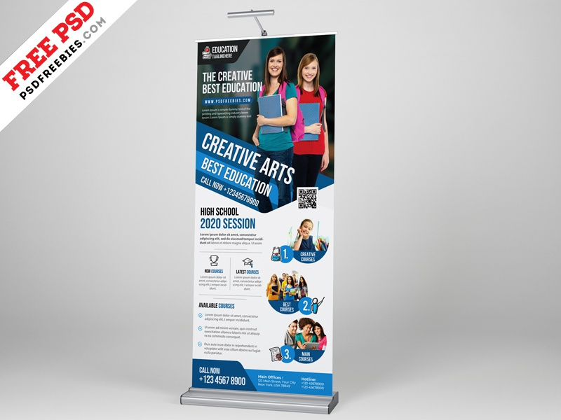 Education Roll Up Banner Psd Template By Psd Freebies On Dribbble