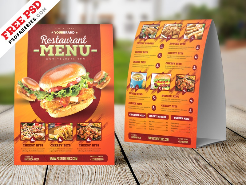 Food Menu Tent Card Design Free Psd Price Template Fast Cafe Restaurant