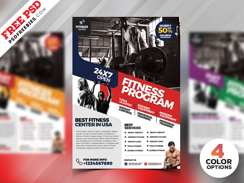 gym fitness flyer design psd bundle by psd freebies dribbble