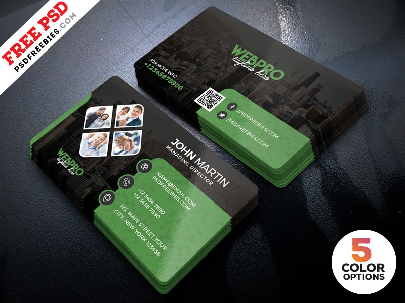 Corporate Business Cards Design PSD Set by PSD Freebies - Dribbble