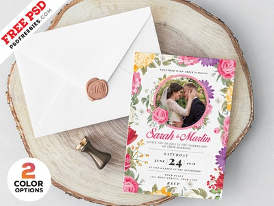 Wedding Invitation Card Design PSD by PSD Freebies Dribbble