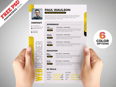 Designer Resume Template PSD Set by PSD Freebies Dribbble
