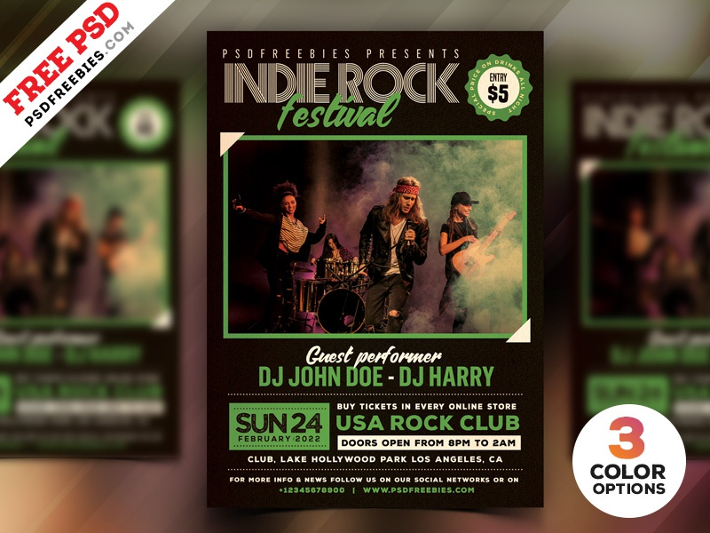 Indie Rock Music Festival Flyer Free PSD music festival inide rock free psd psd freebie party flyer psd flyer event flyer music event party night creative flyer rock party