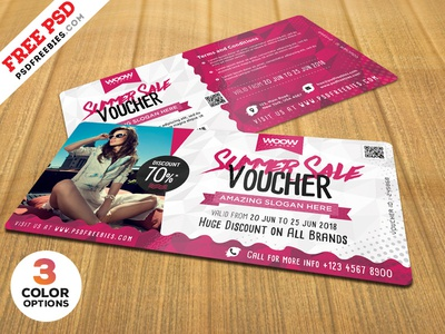 Summer Sale Discount Voucher Free PSD Bundle summer sale design free template coupon gift voucher gift card sale voucher voucher design discount voucher freebie psd free psd