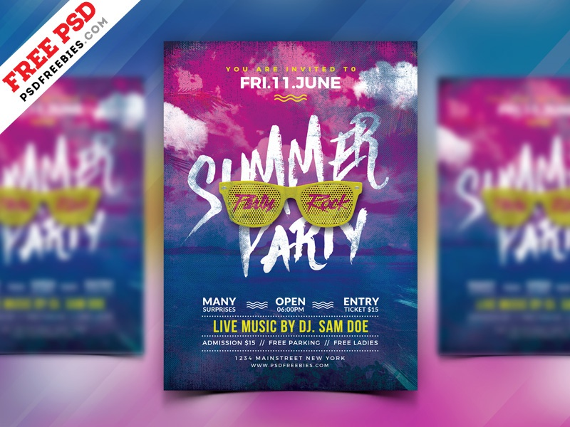 summer party flyer design free psd by psd freebies dribbble dribbble